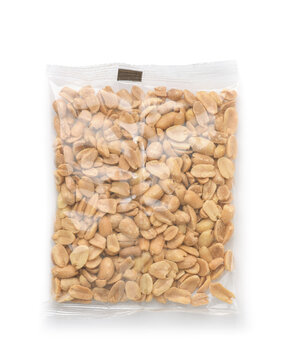 Top view of salted roasted peanuts in plastic bag