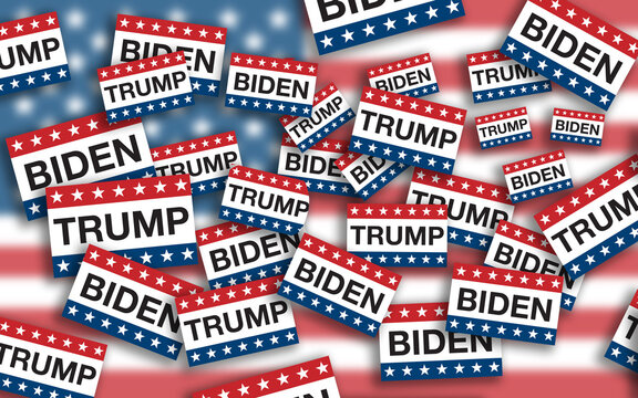Piles of voting signs with stars and stripes from the American flag and the names of President Donald Trump and Joe Biden flying on USA flag background. Presidential election concept illustration.