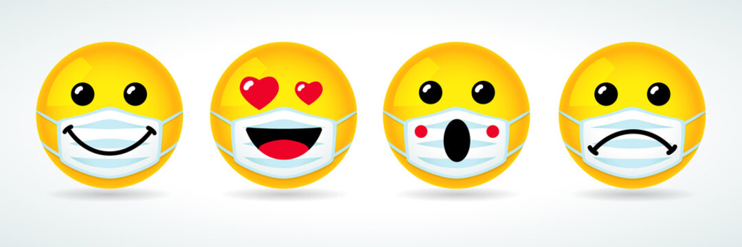 High quality yellow vector cartoon emoticons icons in medical mask. Social media chat comment icon reactions template: smile, love, sad, wow emoji. Laughter character with guard mouth mask