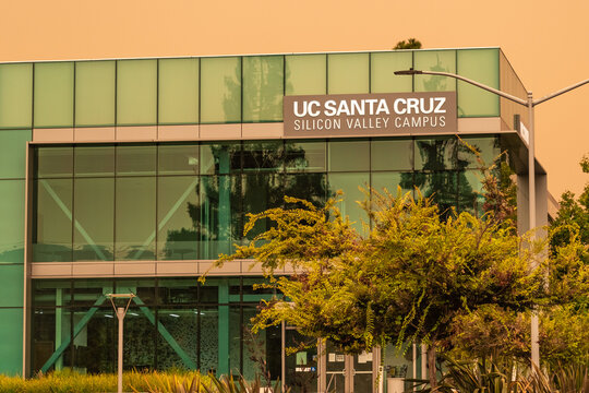 September 9, 2020 Santa Clara / CA / USA - UC Santa Cruz campus in Silicon Valley on a day with orange sky due to the recent wildfires