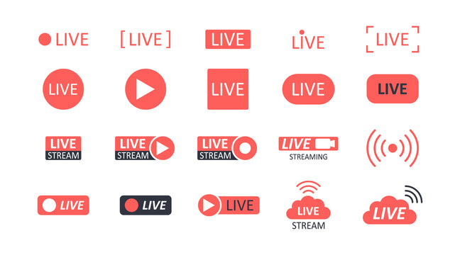 Live streaming vector icons. Red black video buttons podcast live recording. Broadcasting news music games. Online camera text show channel social media