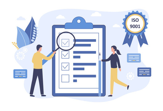Vector quality control concept. Business people confirm and certify a quality product in accordance with ISO 9001. Stamp approval management production service. Flat illustration on white background