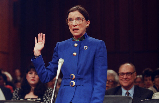 Supreme Court nominee Judge Ruth Bader Ginsburg during her confirmation hearing in Washington