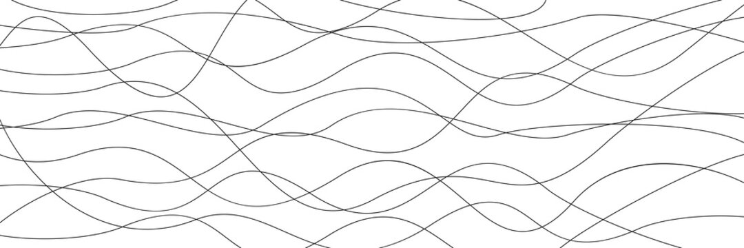 Line wavy background, thin wavy pattern, striped template - stock vector