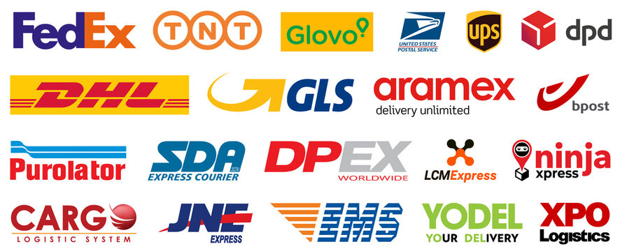 Kiev, Ukraine - September 19, 2020: Set popular delivery courier services icons, logo company: Fedex, TNT, Glovo, DHL, UPS, USPS, DPD, GLS, SDA, DPEX... E-commerce website buttons. Editorial vector
