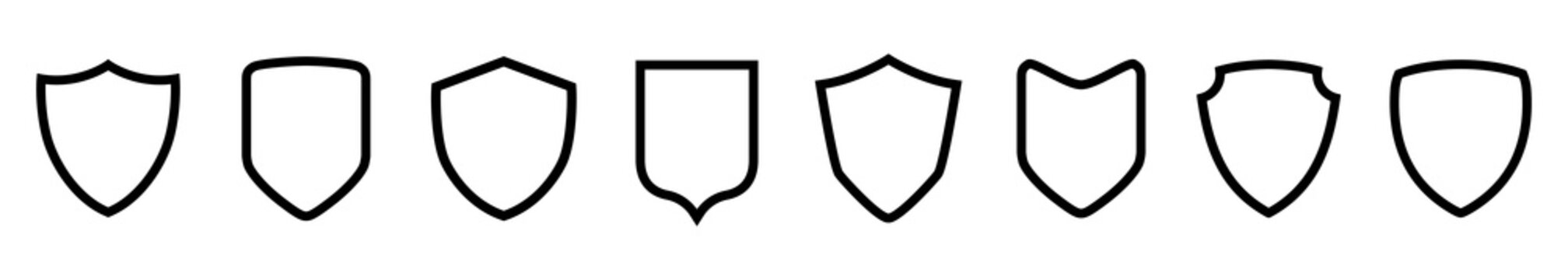 Set different shields icons, protect signs – vector for stock