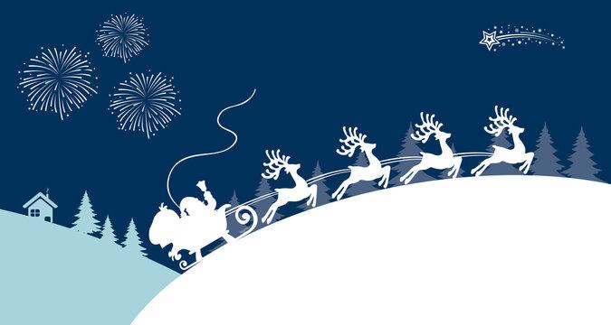 White Santa Claus rides on Christmas sleigh – stock vector