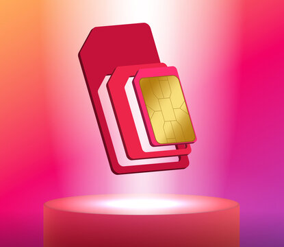 Floating vector illustration of a SIM card. Realistic 3D effect.