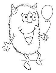 Cute Birthday Monster Coloring Page Vector Illustration Art