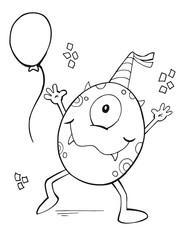 Cute Birthday Party Monster Vector Illustration Art