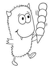 Cute Monster with ice cream Vector Illustration Art
