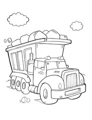 Cute Constriction Truck Coloring Book Page Vector Illustration Art