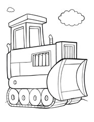 Cute Tough Construction Bulldozer Vector Illustration Art