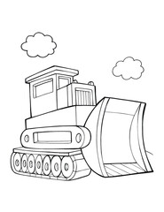 Cute Bulldozer Construction Vehicle Vector Illustration Art