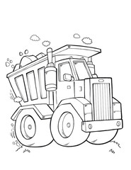 Cute Tough Dump Truck Vector Illustration Art