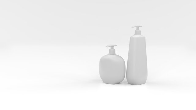 Set of cosmetic plastic bottles on a white background. Cosmetic package collection for shampoo. Isolated mockup on white background. 3d illustration.