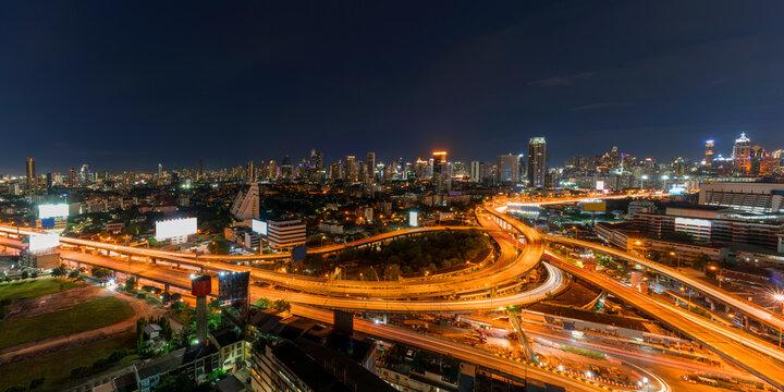 Panoramic image of Cityscape of Bangkok so called Na Ranong Square at night