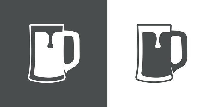 Pinta de cerveza. Logotipo jarra de cerveza vintage con espuma en fondo gris y fondo blanco