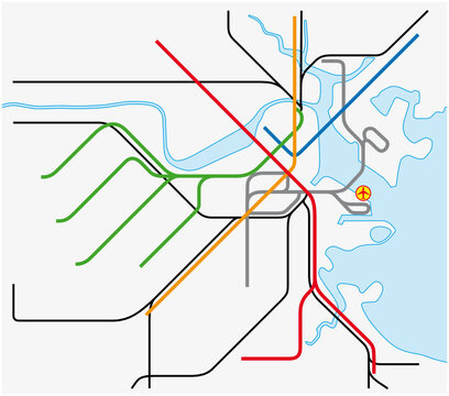 subway vector map of Boston, Massachusetts, United States