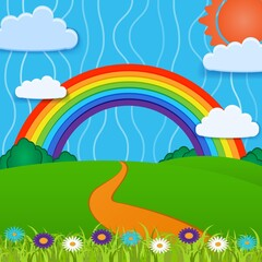 Photo sur Plexiglas Monde magique Vector background with rainbow.