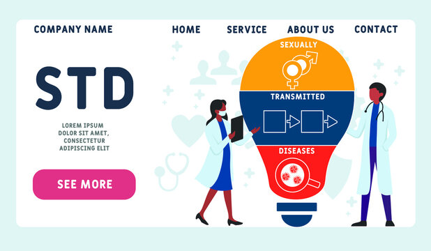 Vector website design template. STD - Sexually Transmitted Diseases, acronym medical concept. illustration for website banner, marketing materials, business presentation, online advertising.