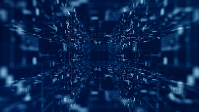 Digital tunnel of cyberspace moving forward with particles and digital data network connections future background concept.