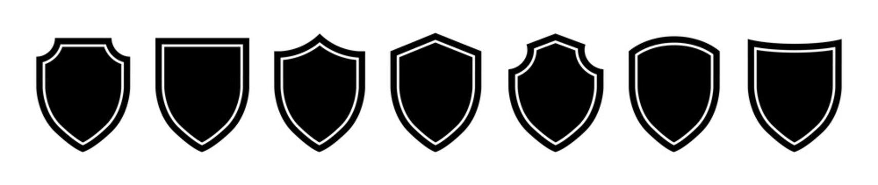 Set of Shiled icon on a white background. Isolated shiled symbol with flat style. Vector illustration.
