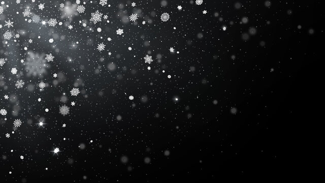 Snowflakes fade from top corner. Blizzard overlay, cold winter snow and Christmas snowfall vector illustration