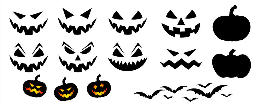 Happy halloween party Pumpkin face. Funny flat vector signs. 31 october fest, horror. Pumpkins icons. Emotion smiley, smile, emoji emoticons faces. Creepy, Fly bat pictogram.