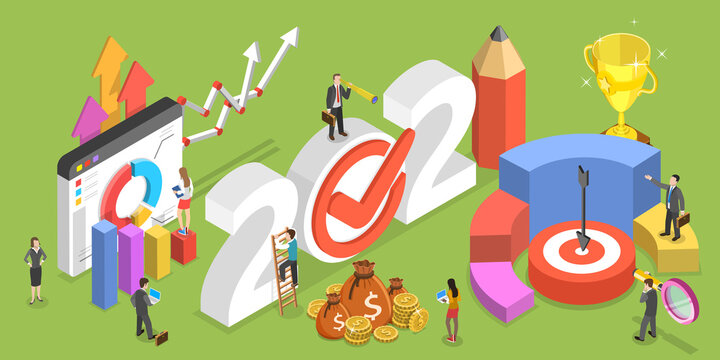 2021 Financial Year, Business Planning and Data Analysis. 3D Isometric Flat Vector Conceptual Illustration.