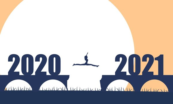A woman jump between 2020 and 2021 years. Human silhouette jumping over a gap in the bridge