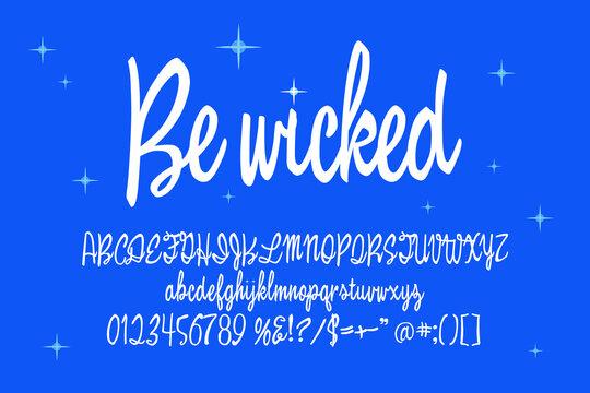 Script alphabet for enchanted titles. Vector typography illustration