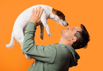 Happy smiling guy with a dog
