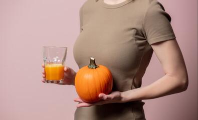 Blonde woman with pumpkin juice