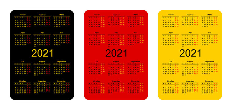 2021 pocket size vector calendars with german months