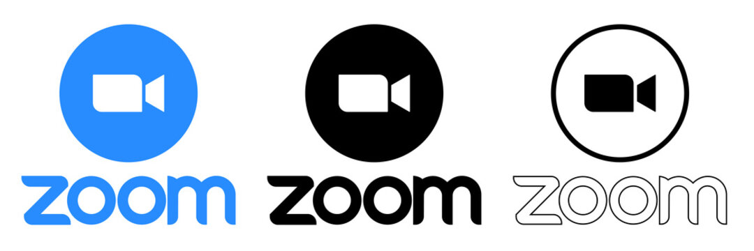 Zoom Video Communications. Zoom logo. Application for video communications with cloud platform for video and audio conferencing, chat and webinars. Blue camera icon. Kyiv, Ukraine - September 20, 2020