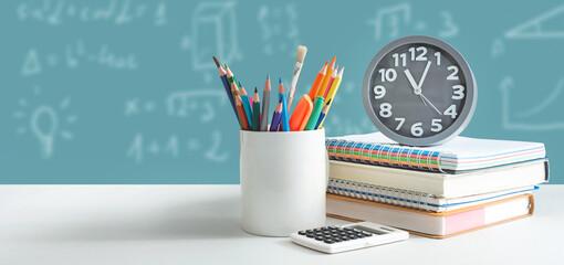 Back to school, student stuff on desk