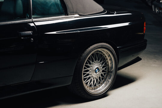 BANGKOK, THAILAND – April 10, 2019: BMW E30 is second generation of BMW 3 series, produced between 1982 to 1994. Model range included sedan, coupe and convertible body style.