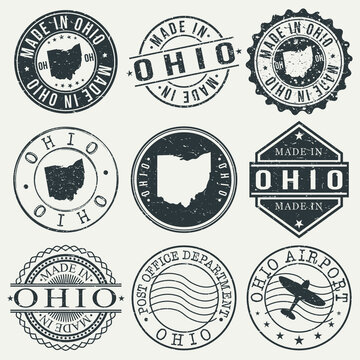 Ohio Set of Stamps. Travel Stamp. Made In Product. Design Seals Old Style Insignia.
