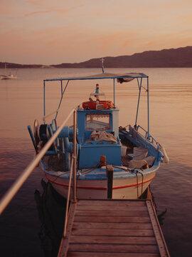 boat in the port of Milos