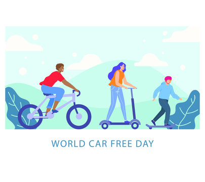 World Car free day, September 22 vector flat icon. World car free day walking environment banner concept vector illustration icon.