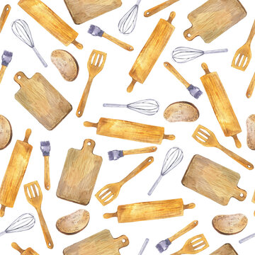 Seamless pattern with bread, wood shovel, plunger, cutting board and whisk on white background. Hand drawn watercolor illustration.
