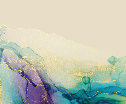 Abstract blue, violet and gold glitter color background. Marble texture. Alcohol ink colors.