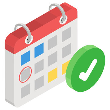 Project scheduling planner vector in isometric design, event calendar