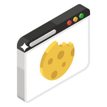 Web cookies vector in editable isometric style