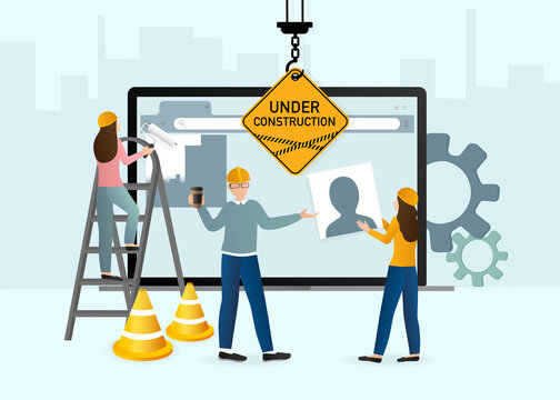 Flat under construction with people for web site design. Minimal design. Technology concept. Flat business template.
