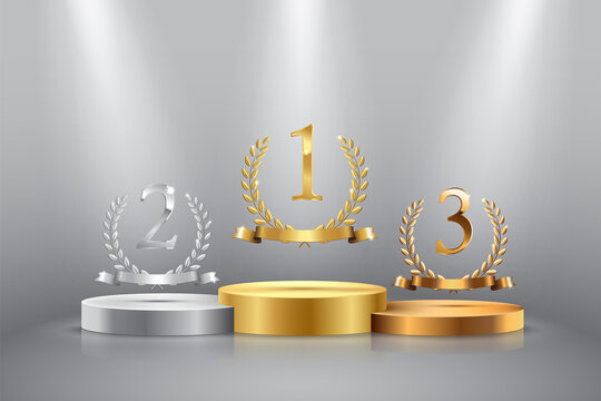 Winner background with golden, silver and bronze laurel wreaths with ribbons and first, second and third place signs on round pedestal isolated on gray. Vector winner podium sports symbols.
