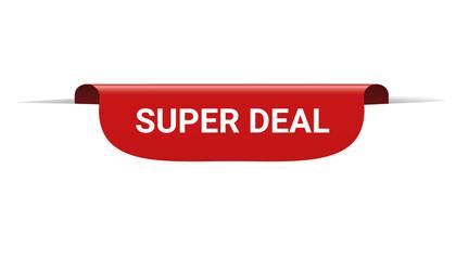 SUPER DEAL - red bookmark banner on transparent background
