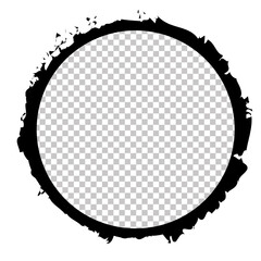 round brush painted ink stamp frame with transparent place for your design element