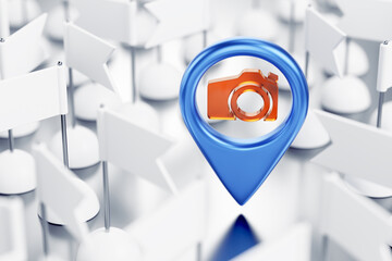 Geo-Location Where a Photo is Taken. Blue location pointer with a camera icon in surrounding of identical white pennants which are randomly arranged on white surface. 3D-rendering graphics.
